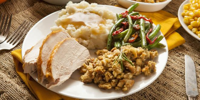A plate of traditional Thanksgiving dinner